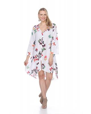 High Low Butterfly Print Dress